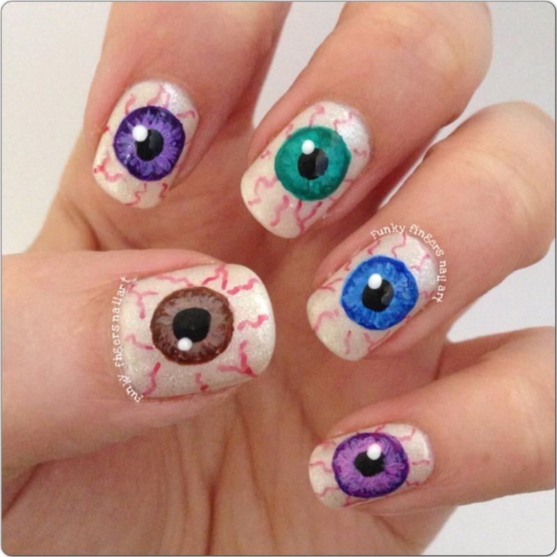 Eyeballs nail art by Funky fingers nail art
