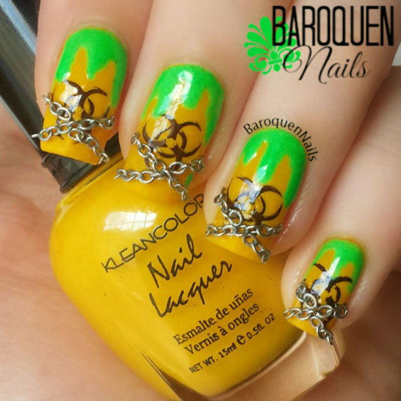 Biohazard ☣ With Chains nail art by BaroquenNails