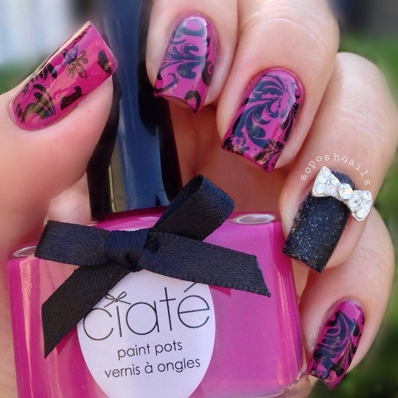 Deep Pink and Black Stamping nail art by Debbie