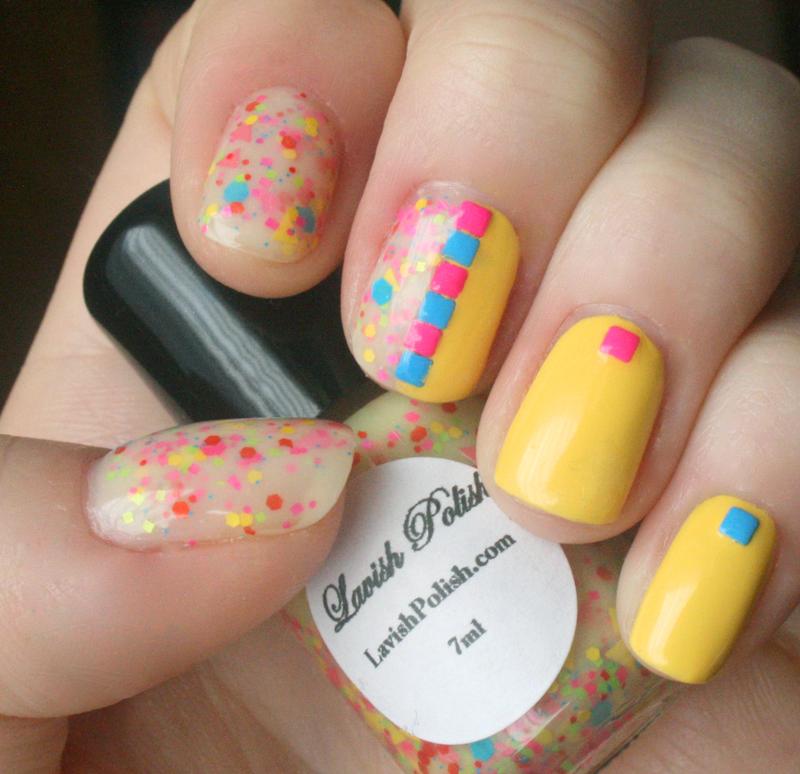 Neon and Yellow Half and Half nail art by Anya Qiu