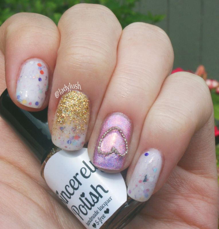 Funfetti and Caviar Heart nail art by Anya Qiu