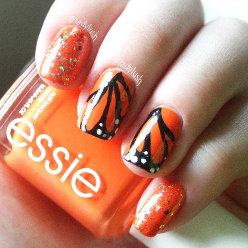 Monarch Butterfly Wings nail art by Anya Qiu