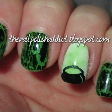 Fire Burn and Cauldron Bubble nail art by Leah