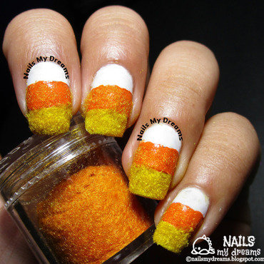 Textured Candy Corn Nails nail art by Kat of NailsMyDreams