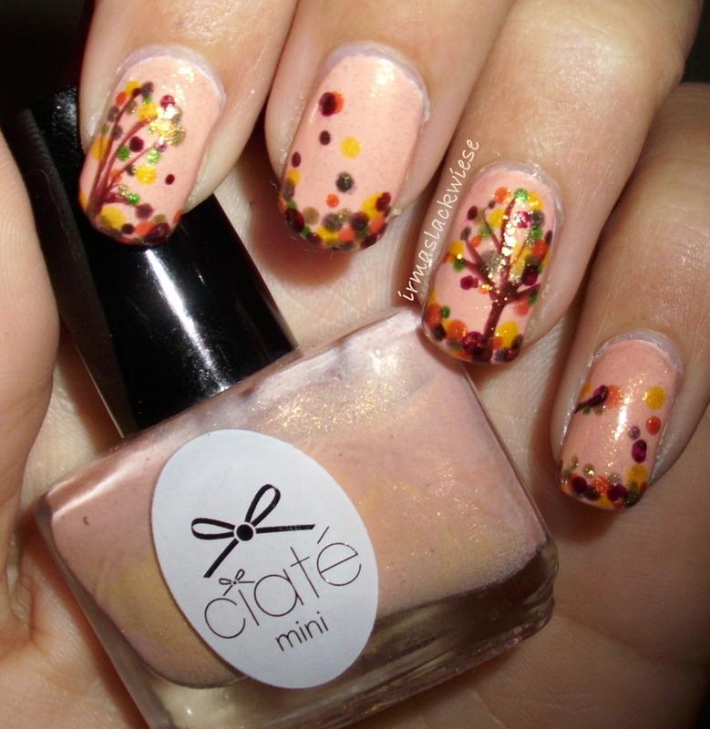 autumn tree nail art by irma