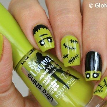 Cute Frankenstein nail art by Giovanna - GioNails
