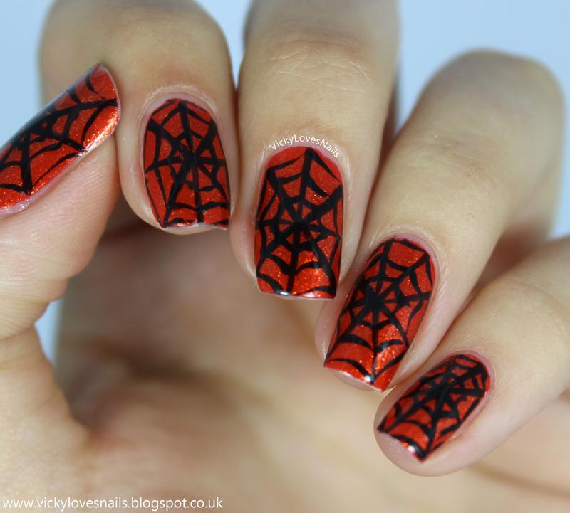 Orange and Black Cobwebs nail art by Vicky Standage