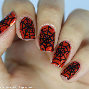 Orange and Black Cobwebs nail art by Vicky Standage