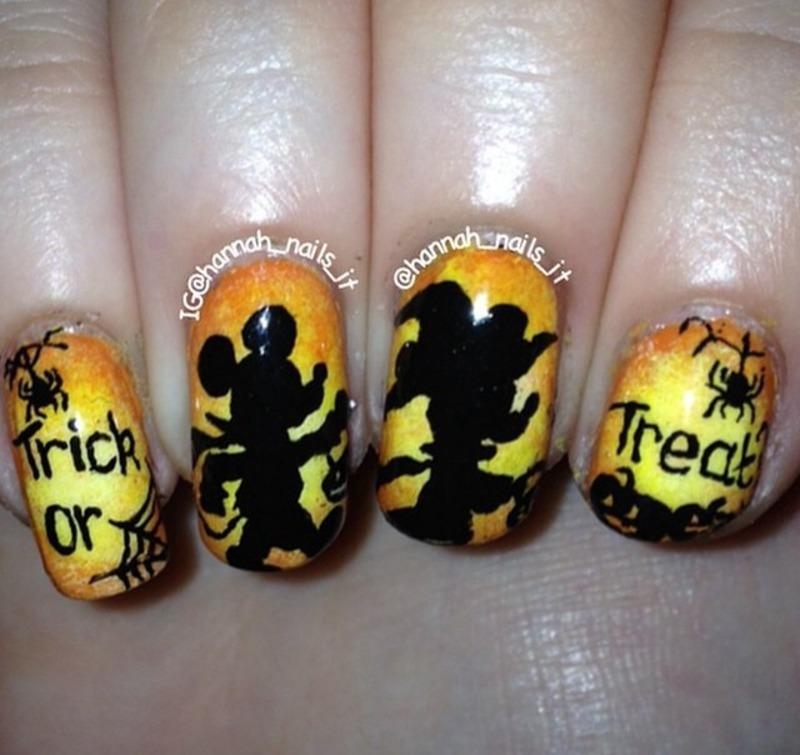Trick or Treatin' Minnie and Mickey nail art by Hannah
