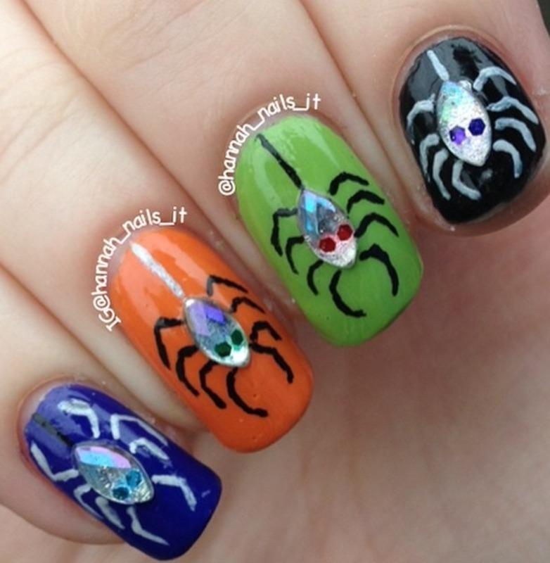 Hanging Spiders nail art by Hannah