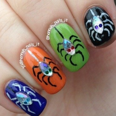Hanging Spiders nail art by Hannah