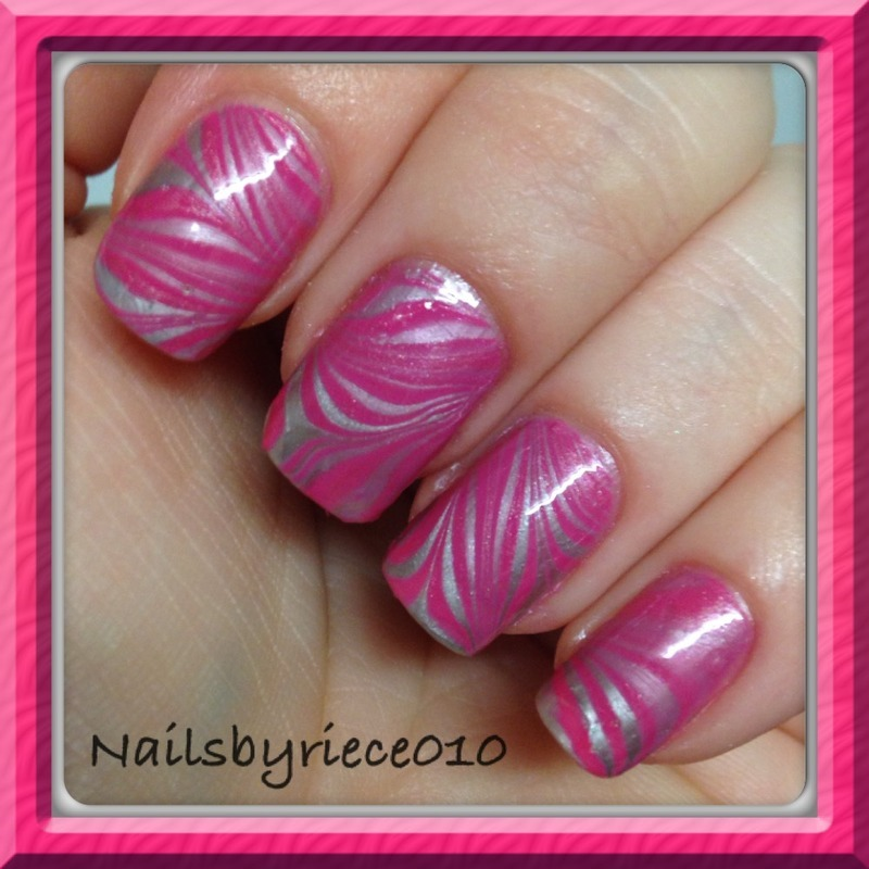 Pink Water Marble nail art by Riece
