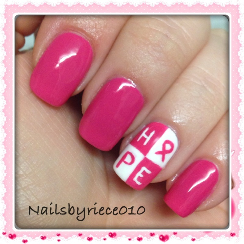 Breast Cancer Awareness nail art by Riece