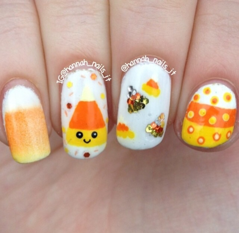Cutie corn nails! nail art by Hannah