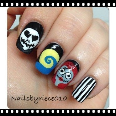 The Nightmare before Christmas nail art by Riece