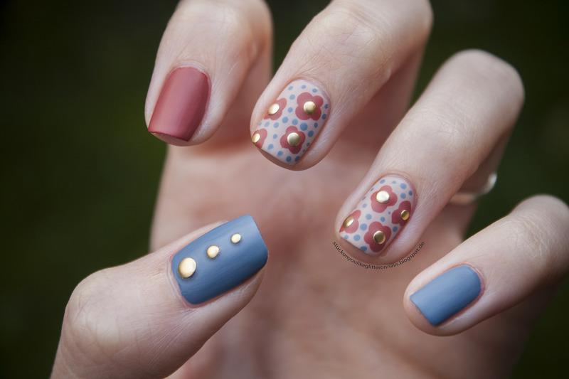 Fall Flowers nail art by Jule
