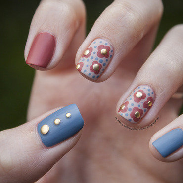 Fall Flowers nail art by Jule