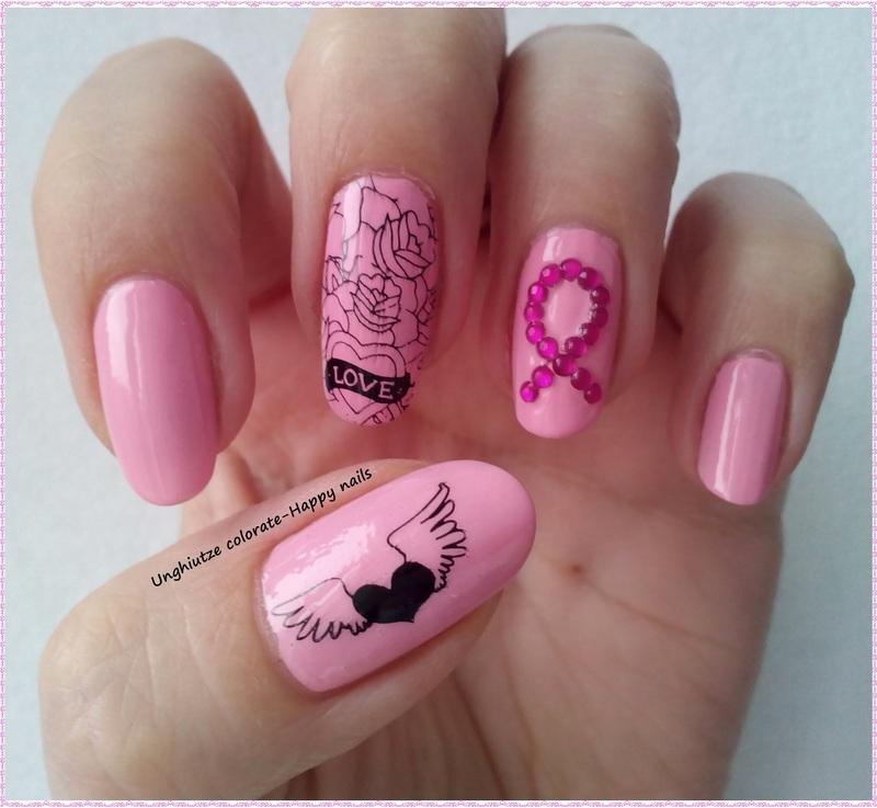Pink Ribbon nail art by Oana  Alexandru