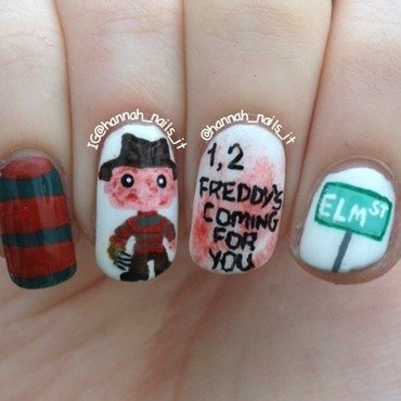 A Nightmare on Elm Street nail art by Hannah