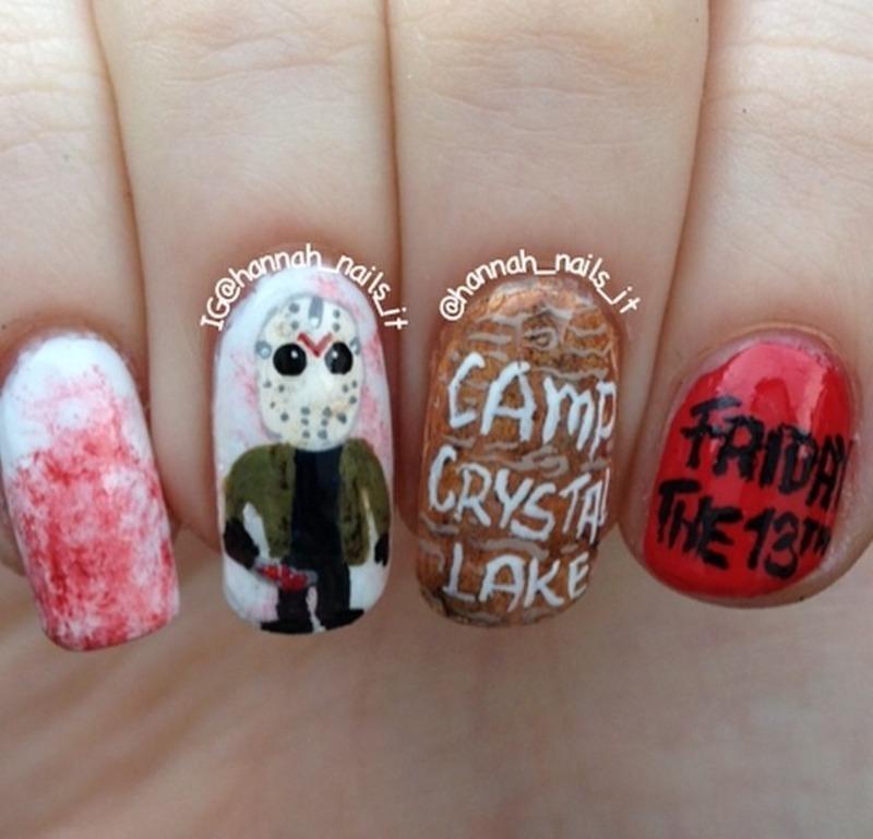 Friday the 13th nail art by Hannah