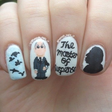 Alfred Hitchcock nail art by Hannah