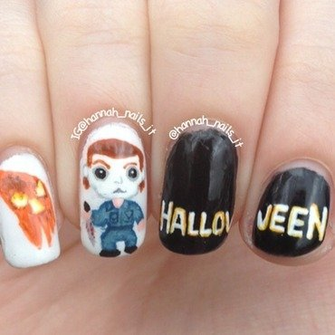 Michael Myers nail art by Hannah