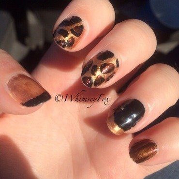 Luxe in Leopard Pt. 1 nail art by WhimseyFox