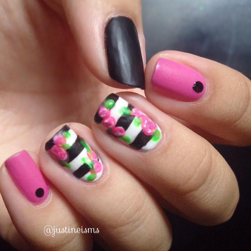 Matte Flowers and Stripes nail art by ℐustine