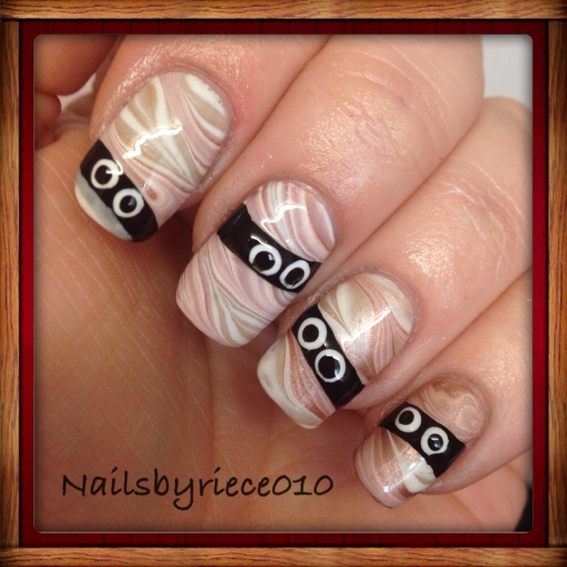 Water Marble Nails nail art by Riece