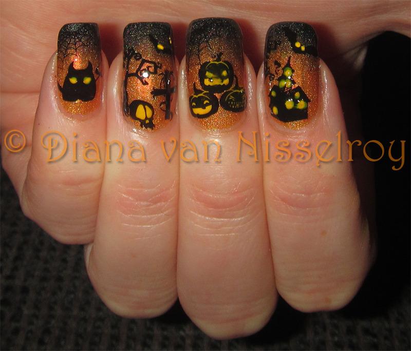 Halloween scenery nail art by Diana van Nisselroy
