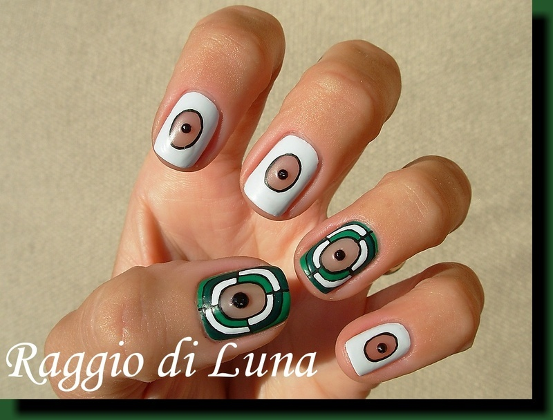 Abstract green manicure with black rhinestones nail art by Tanja
