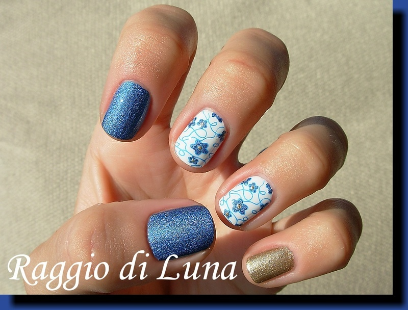 Blue flowers stamping skittlette nail art by Tanja