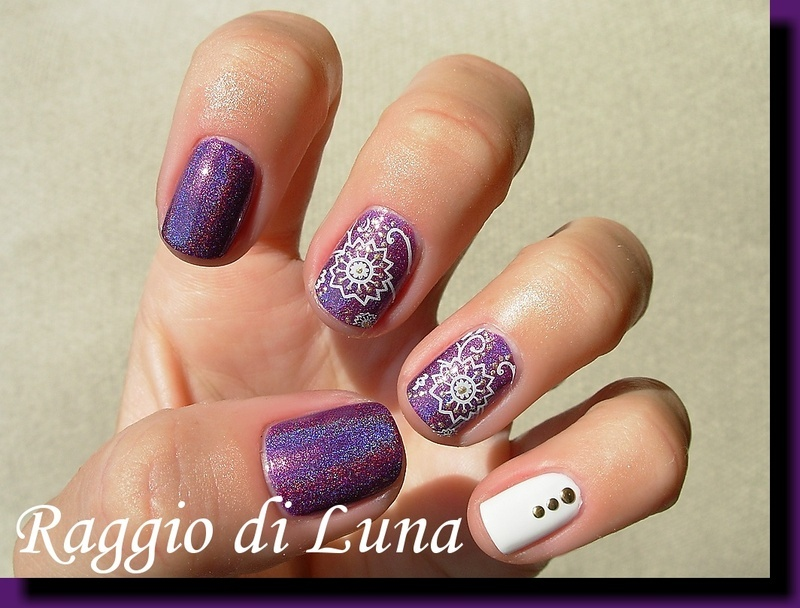 White flowers on purple stamping skittlette nail art by Tanja