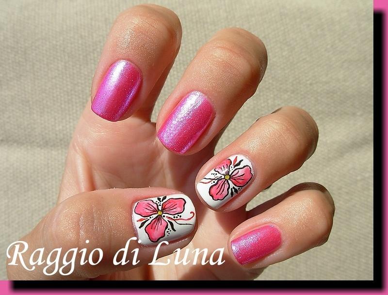 Pink watercolour flower nail art by Tanja