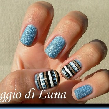 Light blue & black & white & golden tribal manicure nail art by Tanja