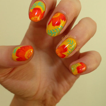 Tropical flowers  nail art by Emilie