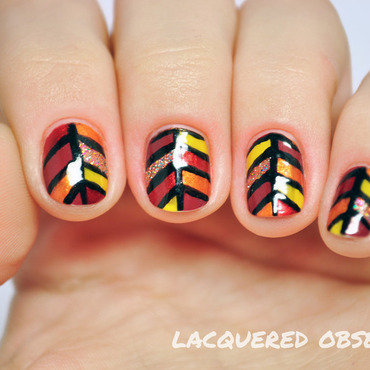 Stained glass leaves nail art by Lacquered Obsession