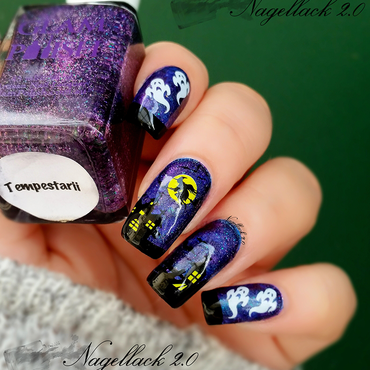 Haunted House Nails nail art by Arlett