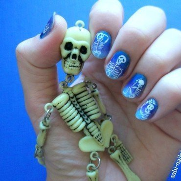 Halloween sceletons :) nail art by Sabina