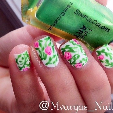 Rose garden nail art by Massiel Pena