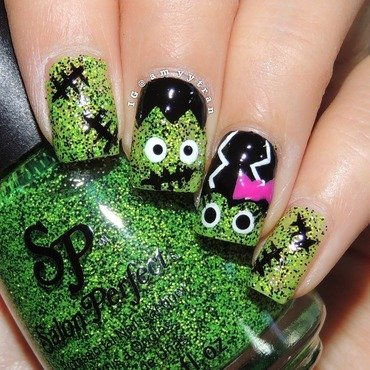 Frankenstein couple nail art by Amy