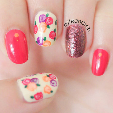 Easy Fall Floral Nails nail art by elleandish