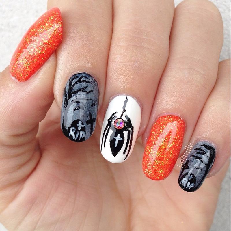 Halloween glitter nails nail art by Henulle