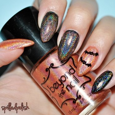 Holographic Layering & Bats! nail art by Maddy S