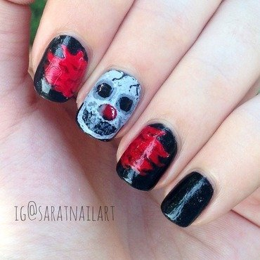 Scary clown nail art by Sara T