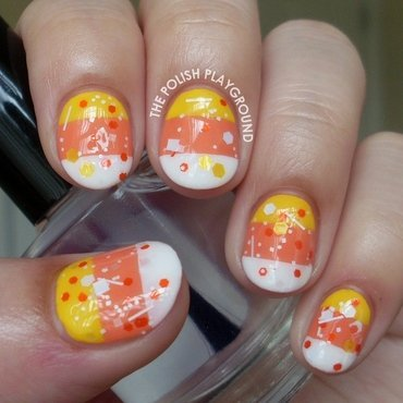 Candy Corn Stripes and Glitter nail art by Lisa N