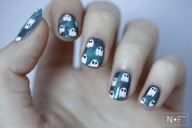 Spooky galaxy nail art by NerdyFleurty