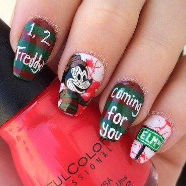 Freddy Krueger Mickey nail art by Iliana Chavez