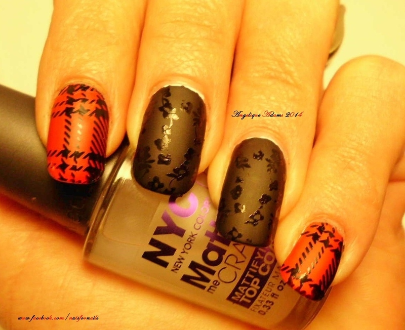 Plaid nail art by Angelique Adams