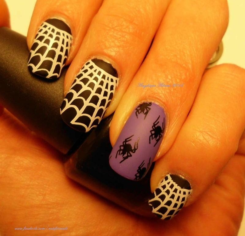Spooky Spiderwebs nail art by Angelique Adams